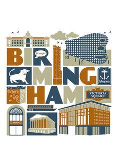 Birmingham UK typographic city print