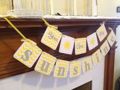 You Are My Sunshine Banner, chevron stripes - You are my sunshine garland - Baby shower decor custom colors on Etsy, $18.00
