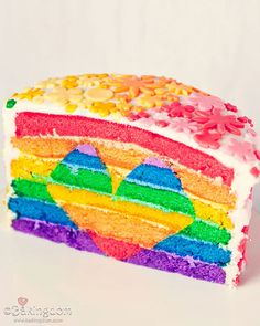 rainbow layer cake with hidden heart