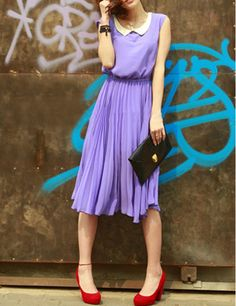 lavender midi dress...without the red shoes