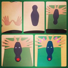 Hands and shape of bowling pin - Rudolph along with math activity included (counting up to 10)... Students enjoyed this activities...