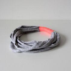 Wickelkette ▼ grau meliert  /// neon-orange  von knobz auf DaWanda.com