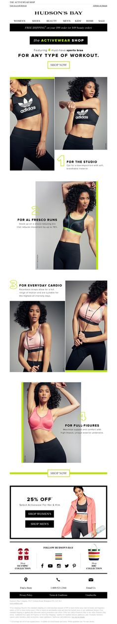 Hudson's Bay - 25% OFF select activewear + must-have sports bras for EVERY workout!