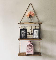 Hanging Shelves Rope, 3 Shelves, Rustic Wood Shelf, Floating Shelf by RustikDecorShop on Etsy https://www.etsy.com/listing/476134745/hanging-shelves-rope-3-shelves-rustic