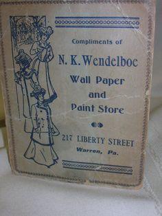 Vintage 1907 Advertising Sewing Needle Pack Warren Pa. #NKWendelboeWallPaperPaintStore