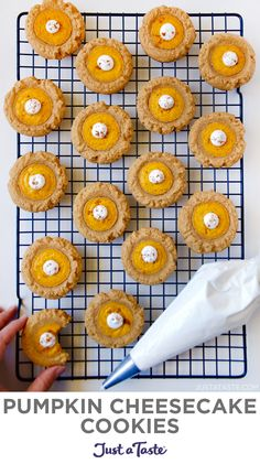 Pumpkin Cheesecake Cookies are a fork-free version of classic pumpkin pie, sans all the time and effort it takes to make pie crust! These pumpkin cookies star a graham cracker base topped with tangy pumpkin cheesecake filling. justataste.com #pumpkincookies #pumpkincheesecake #cookies #desserts #recipes #fallbaking #falldesserts #justatasterecipes Pumpkin Cheesecake Cookies Recipe, Pumpkin Cookies, Pumpkin Dessert, Yummy Cookies, Cookie Recipes, Dessert Recipes, Pumpkin Spice, Keto Cheesecake, Shortbread Cookies