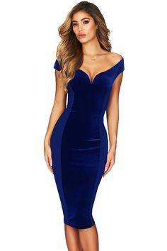 271b670d94d Elegant Off Shoulder Short Sleeve Bodycon Midi Evening Dress Blue Φορέματα  Για Κλαμπ, Γυναικεία Φορέματα