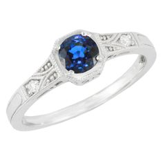 Art Deco Filigree Blue Sapphire and Diamond Engagement Ring in 18 Karat White Gold Platinum Engagement Rings, Deco Engagement Ring, Engagement Ring Styles, Antique Engagement Rings, Art Deco, Blue Sapphire Rings, Sapphire Birthstone, Queen, Ring Verlobung