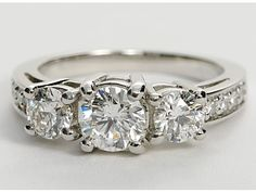 Three Stone Pave Diamond Ring