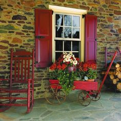 Love these red shutters! and red wagon and red rocking chair! all so perrrrrrfect for country Christmas and all year round with red geraniums (my fav)! Red Shutters, House Shutters, Window Shutters, Exterior Shutters, Exterior Colors, Exterior Paint, Exterior Design, Shutter Hardware, Shutter Doors