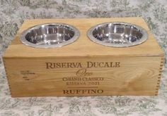 DIY! Dog Dish Recycled Wine Crate