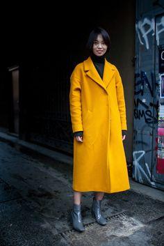 Milan Fashion Week Street Style 2016   Long yellow coat [Photo: Kuba Dabrowski]