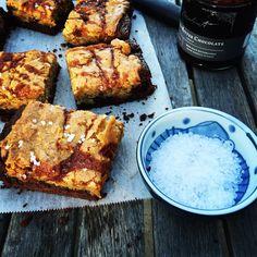 { salted caramel + brown butter stacked blondie-brownie } DisplacedHousewife