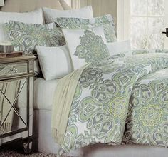 Cynthia Rowley Full/Queen Size Duvet Cover Set Jacqueline Large Paisley Moroccan Medallion Dusty Blue Sage Teal Green Yellow, http://www.amazon.com/dp/B01BMTSRKM/ref=cm_sw_r_pi_awdm_KfB2wb06KSF0Z