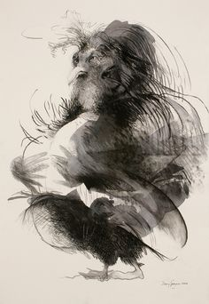 Fowl Mood, 2006, by Mary Sprague, charcoal, 44 x 31