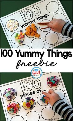 100 Yummy Things is the perfect addition to your 100th day of school celebrations. This free printable will encourage your students to practice counting to 100. It's perfect for preschool, kindergarten, and first grade students. #100thday