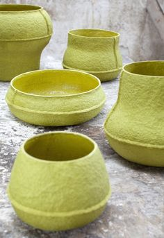 Paper pulp vases by