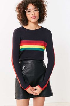 Cooperative Rainbow Striped Pullover Sweater