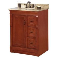 Naples 25 in. W x 22 in. H Vanity in Warm Cinnamon with Granite Top in Beige and Single Bowl in White-NACABG2522 at The Home Depot
