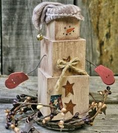 DIY Primitive Decor  Create your own Primitive Snowman out of Wood Blocks by joanne