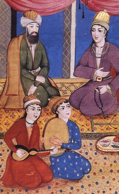 """Zand-majles - Painting is more than 200 years old. It is by """"Agha Bagher"""", the celebrated pupil of Ali Ashraf. The Drawing appears in a manuscript of Divan of Hafez dated 1790."""