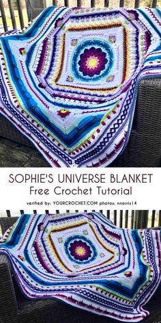 Crochet Afghans Ideas Sophie Universe Blanket Free Crochet Pattern - All the best free crochet patterns. Motif Mandala Crochet, Afghan Crochet Patterns, Knitting Patterns, Blanket Crochet, Mandala Blanket, Afghan Blanket, Beau Crochet, Crochet Geek, Scrap Crochet