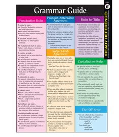 """Includes punctuation rules, pronoun-antecedent agreement, subject-verb agreement, rules for titles and capitalization, the """"of"""" error, frequently misspelled words, and proofreading symbols. Students can keep all the facts right at their fingertips with this colorful two-sided ready reference card! Comes pre-punched for a three-ring binder and is laminated for years of use. 8 1/2"""" x 11"""" (22 x 28cm)."""