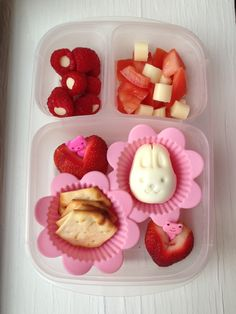 Tam-tam crackers, large strawberries, hard boiled egg bunny, tomato salad with mozzarella string cheese cut into bits, raspberries with white chocolate chips in the middle. #foodforharper #bento please follow me at www.facebook.com/FoodForHarper