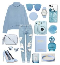 """Everything is blue"" by taylorr-gray ❤ liked on Polyvore featuring iHeart, Topshop, Miu Miu, Tory Burch, ESCADA, Illesteva, Casetify, Fujifilm, kikki.K and Deborah Lippmann"