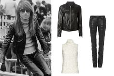 How to Achieve Françoise Hardy's Classic French Girl Style Françoise Hardy, 1960s Fashion, Girl Fashion, Fashion Outfits, Fashion Tips, Fashion Ideas, Leather Trousers, Leather Jacket, French Girl Style