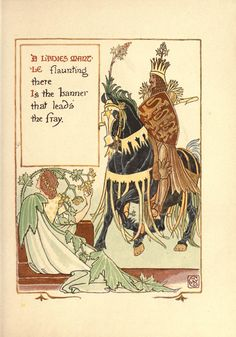 """British Library digitised image from page 71 of """"A Floral Fantasy in an Old English Garden. Set forth in verses & coloured designs"""" Walter Crane, Tarot, Banner, British Library, New York Public Library, Fairy Art, Old English, Vintage Images, Verses"""