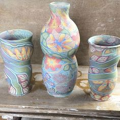 Some new vases I'm working on. I'm developing a technique for throwing open forms with colored clay on the inside as well as the outside.The two smaller ones are made this way. You can see the colored Clay inside the rim. Mahalos to Cory Brown for developing this throwing technique using wheels. @corybrownceramics #neriage #nerikomi #kauai #coloredclay