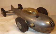 VINTAGE TETHER CAR ALUMINUM ART-DECO STREAMLINED RACER WITH GAS ENGINE VERY RARE