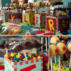 Toy Story Birthday Party - Spaceships and Laser Beams. Love the boxes with candy and name!