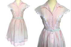 VTG Pink Blush Sheer Cotton Crochet Floral Lace Pin Tucks Trim Pleated Shirtwaist Buttoned Full Skirt Summer Party Pin Up Swing Dress – Party Ideas Pin Up, Power Dressing, Cotton Crochet, Lace Applique, Swing Dress, Cotton Dresses, Floral Lace, Blush Pink, Party Dress
