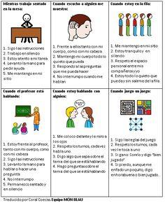 Tarjetas de Habilidades Sociales (actitudes en el Cole) - info-tea-materiales Inclusive Education, School Posters, Aspergers, School Counselor, My Tea, Speech And Language, Social Skills, Speech Therapy, Preschool
