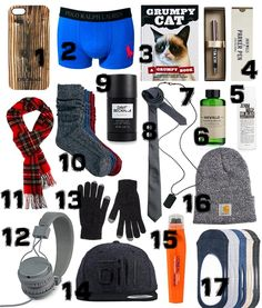 1. Wood iPhone 5 Case,  2. Polo Ralph Lauren Large Polo Player Trunks 3. Grumpy Cat book 4. Jack Wills Parker Pen 5. Denim Wash 6. Neville Clean & Shave Face Wash and Shave Gel 7. Dog Tag 8. Slim Tie 9. Classic deo stick 10. 3 Pack Cable Knit Boot Socks 11. Tartan Lambswool Scarf 12. headphones. 13. Lambswool Plain Touch gloves 14. Yard Emery Cap 15. Hydra Energetic Cooling Eye 16. Carhartt acrylic watch beanie hat 17. 5 pack liner socks