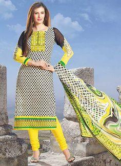 Bollywood Pakistani Indian Anarkali Salwar Kameez Yellow Printed Cotton Churidar Suit Party Wear Salwar Kameez Designer salwar kameez