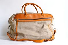 89fda95a53175 Leather and Canvas Travel or Duffle Bag Men s by CrolAndCo