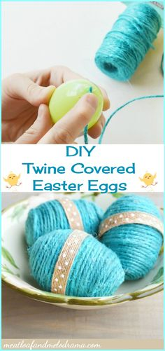 DIY Twine Covered Easter Eggs - Meatloaf and Melodrama St Patricks Day Food, Plastic Easter Eggs, Diy Easter Decorations, Dollar Tree Crafts, Easter Treats, Egg Decorating, Easter Baskets, Meatloaf, Twine