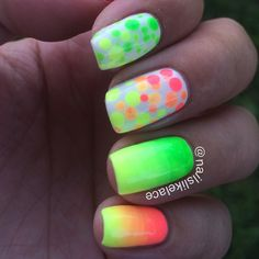 My neon mani for #summerneoncollab2014 using @fingrs Meet Me in the Green Room, @orlynails Tennis Ball Neon, and #Icing Diamond Head Breeze (from my love @amylovesnewwave! ), glowing like crazy at sundown!  #nailslikelace