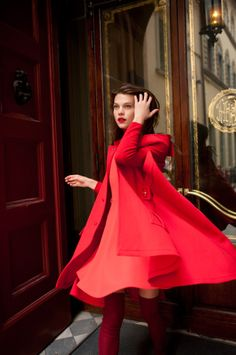 Red coat and dress