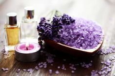 bowl of lavender bath salt and massage oil Lavender Bath Salts, Spa Therapy, Lovely Smile, Massage Oil, Glowing Skin, Herbalism, Ethnic Recipes, Serenity, Aromatherapy