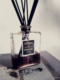 Chanel perfume bottle turned into a reed home fragrance diffuser - or a little v. - Chanel perfume bottle turned into a reed home fragrance diffuser – or a little vase! Why hadn't - Coco Chanel, Chanel Bags, Chanel Handbags, Mini Vase, Perfume Chanel, Diffuser Diy, Empty Perfume Bottles, Perfume Tray