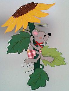 Fensterbild Maus klettert auf Sonnenblume -Herbst-Dekoration - Tonkarton!