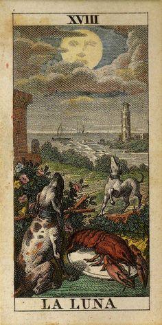 """""""La Luna"""" - Tarot card by Carlo Dellarocca (1835)"""