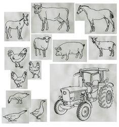 Huhn Ente Kuh Ziege Esel Gans Pferd Schwein Ziege Pferd Stickmuster Stickdateien Bauernhof Stickmotive Traktor Stickdatei