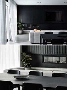 In this modern living room, a built-in linear fireplace and television blend in to the black accent wall, that adds a rich texture to the room with black timber battens. Black Accent Walls, Accent Walls In Living Room, Living Room Grey, Living Room Modern, Interior Design Living Room, Living Room Designs, Living Spaces, Interior Livingroom, Bathroom Interior