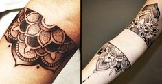 These beautiful and intricate half mandala tattoos are great designs to place on the sternum, arms, and good as matching or filler tattoos.