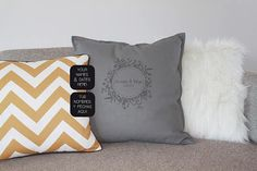 Custom wedding pillow with names and wedding date. Unique wedding gift, as wedding decor, Valentines gift, an anniversary or a birthday. Unique Anniversary Gifts, Unique Wedding Gifts, Unique Gifts, Wedding Anniversary, Colorful Interior Design, Personalized Pillow Cases, Wedding Pillows, Modern Colors, Valentine Gifts
